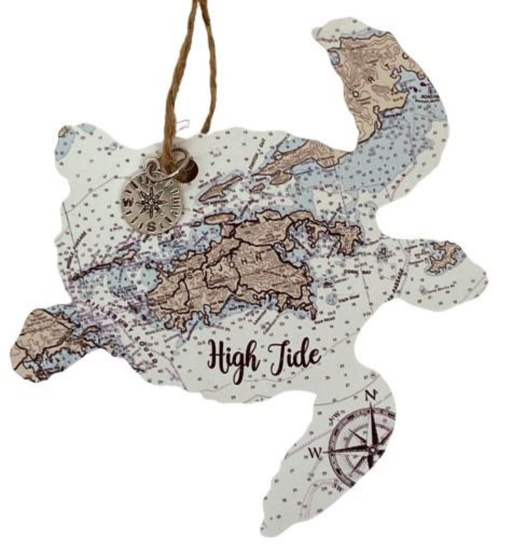 TURTLE WOODEN MAP ORNAMENT