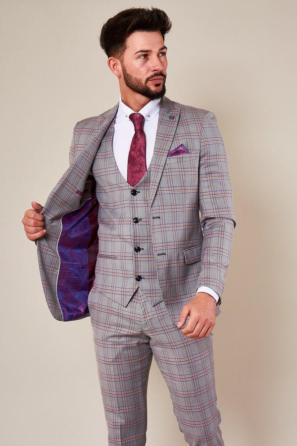 Marc Darcy Menswear Alvin Wedding Suit | Pink and Grey | Mens Tweed Suits | Mens Wedding Suits