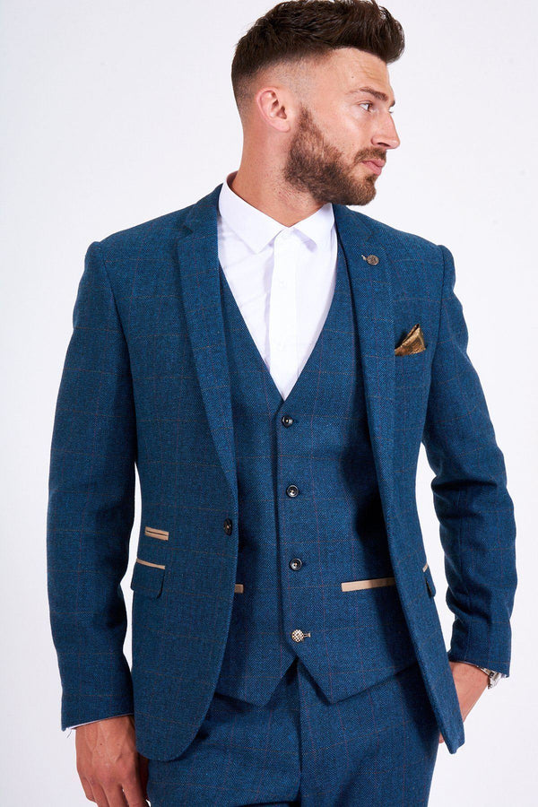 Marc Darcy Menswear Dion Blue Tweed Wedding Suit