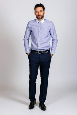 SHELBY - Navy Blue Stripe Penny Collar Shirt | Marc Darcy