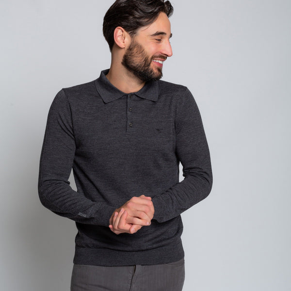 OAKS CHARCOAL POLO | MENSTWEEDSUITS.COM
