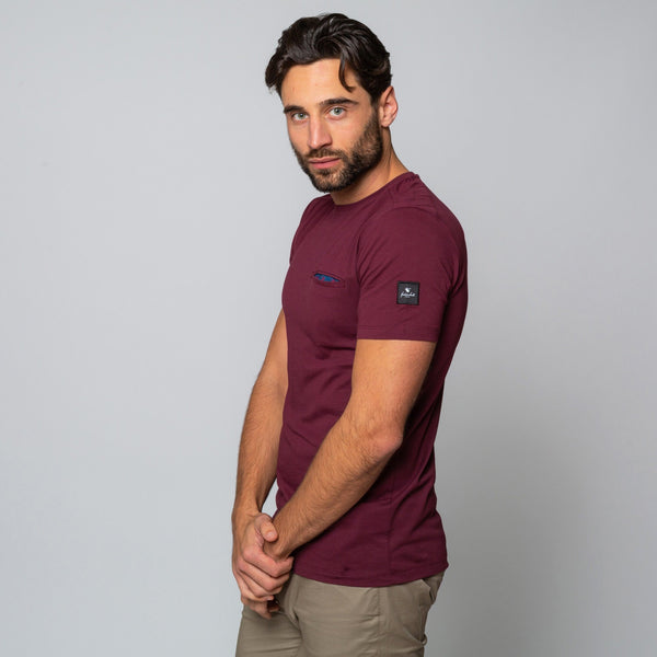 MENS MAROON  CREW NECK COTTON Handmade Goodwin Smith Tee | Menstweed