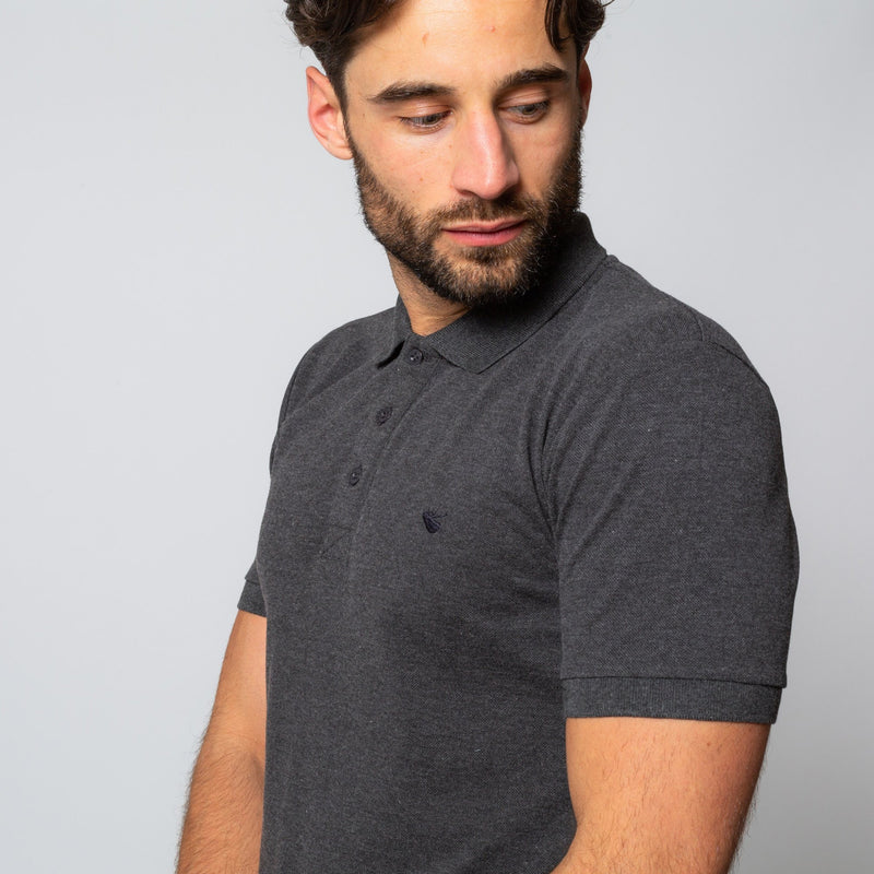 HINCHLEY CHARCOAL - Mens Shortsleeve Polos | Mens Tweed Suits