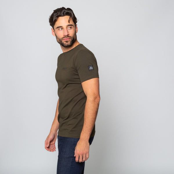 MENS KHAKI  CREW NECK COTTON Handmade Goodwin Smith Tee | Menstweed