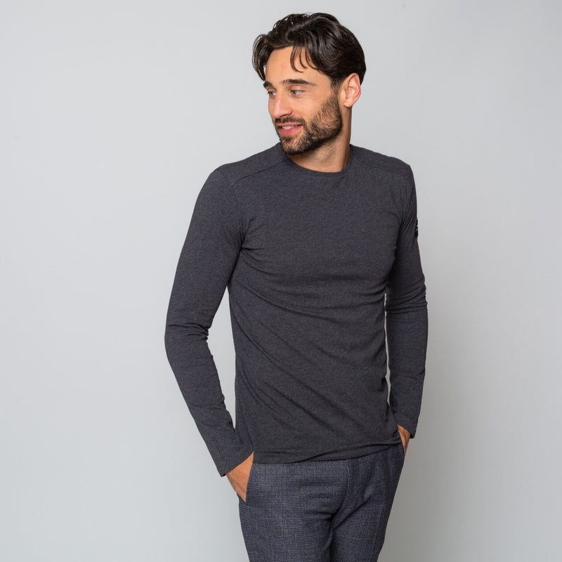 MENS Charcoal LONGSLEEVE CREW NECK COTTON Goodwin Smith Tee | MTS