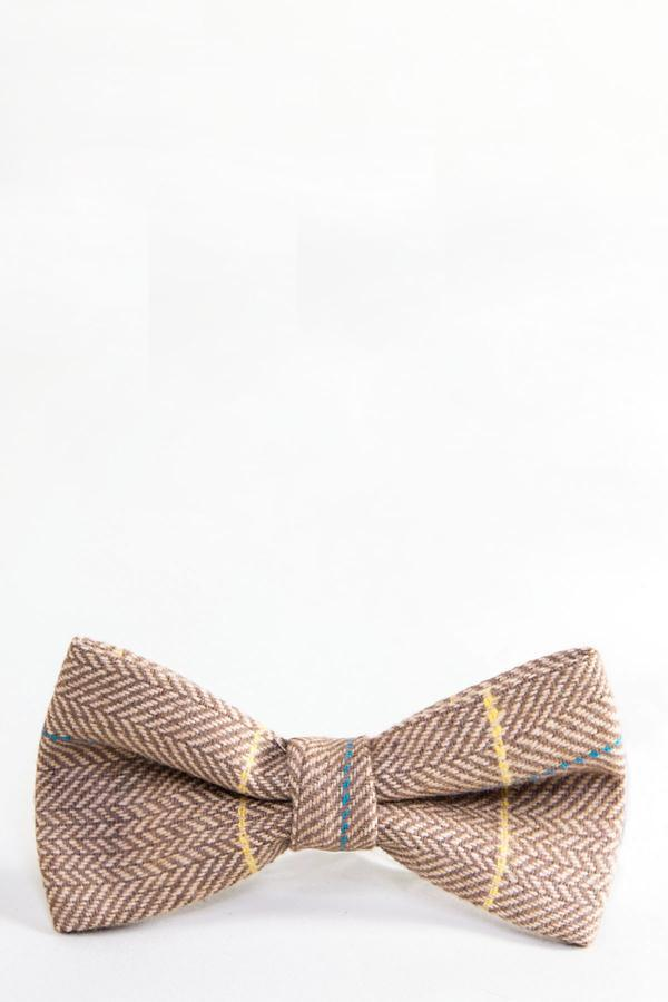 DX7 - Oak Tweed Check Bow Tie | Marc Darcy - Mens Tweed Suits