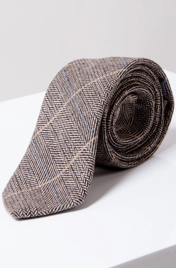 DX7 Tan Tweed Check Tie - Mens Tweed Suits