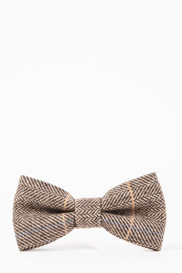 DX7 Tan Tweed Check Bow Tie - Mens Tweed Suits