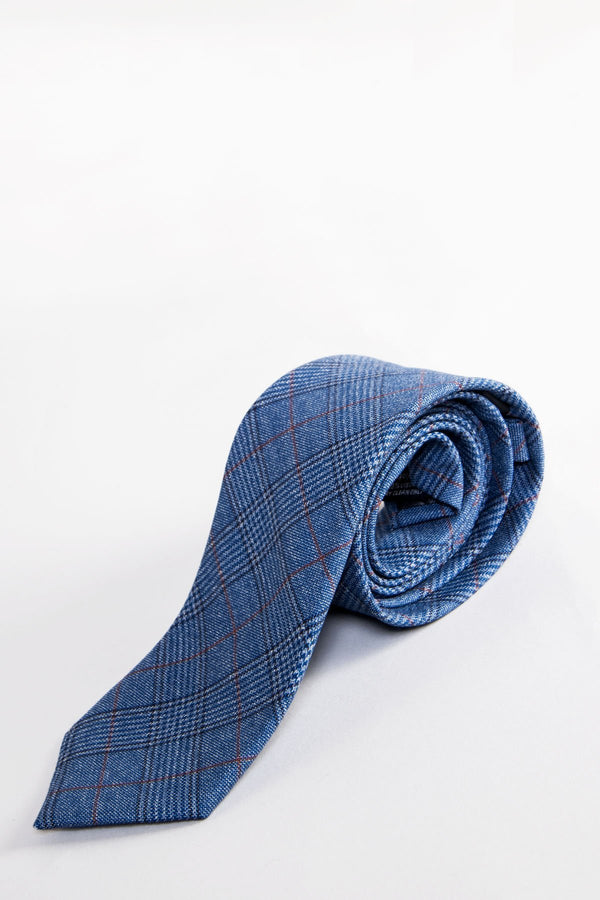 George Light Blue Check Tie - Mens Tweed Suits
