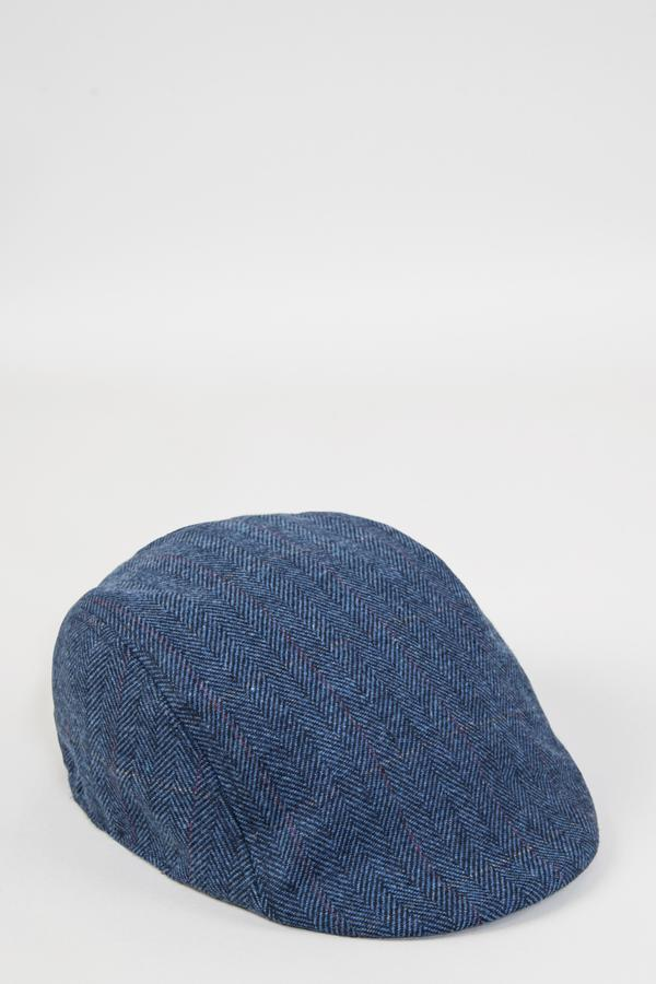 Dion Blue Check Tweed Flat Cap - Mens Tweed Suits