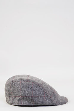 Dion Grey Tweed Flat Cap | Marc Darcy - Mens Tweed Suits