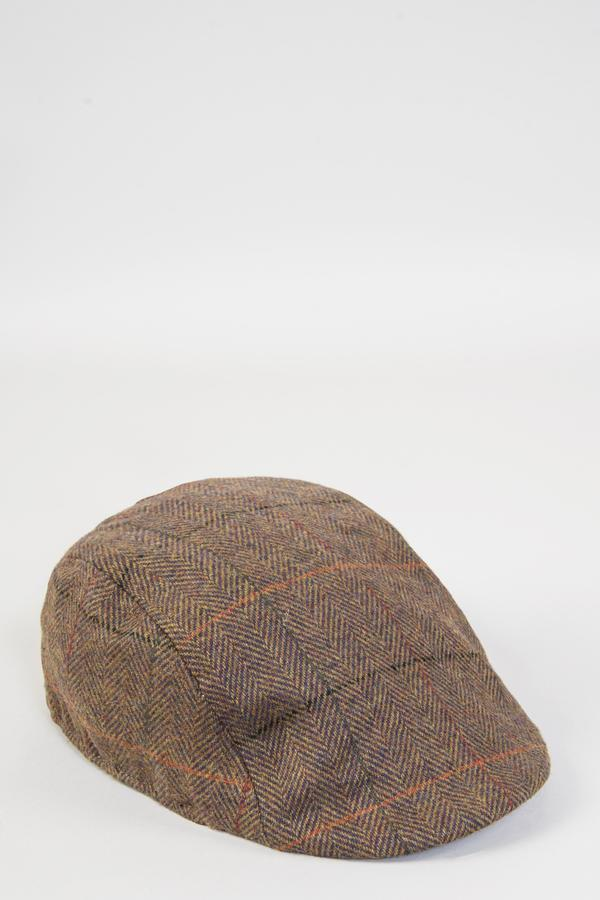 Nelson Tan Check Tweed Flat Cap | Marc Darcy | Mens Tweed Suits - Mens Tweed Suits