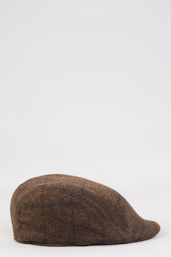 TB4 Brown Navy Check Print Tweed Flat Cap | Marc Darcy shop buy menstweedsuits 2019 london fashion