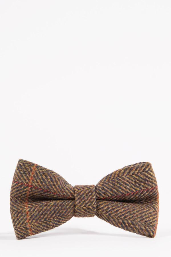 NELSON - Tan Multi Tonal Check Tweed Bow Tie | Marc Darcy - Mens Tweed Suits