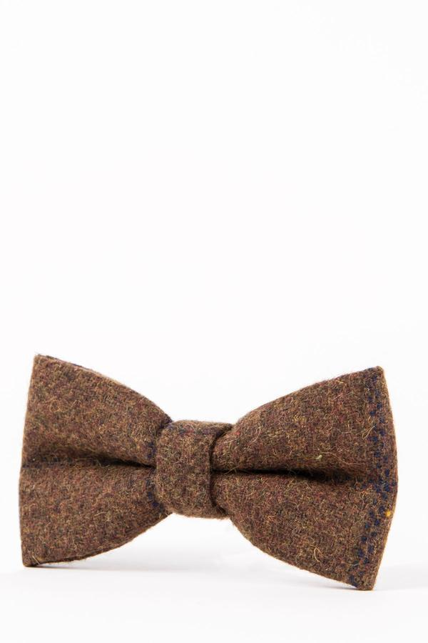 TB4 - Brown Navy Check Tweed Suit Bow Tie | Marc Darcy - Mens Tweed Suits