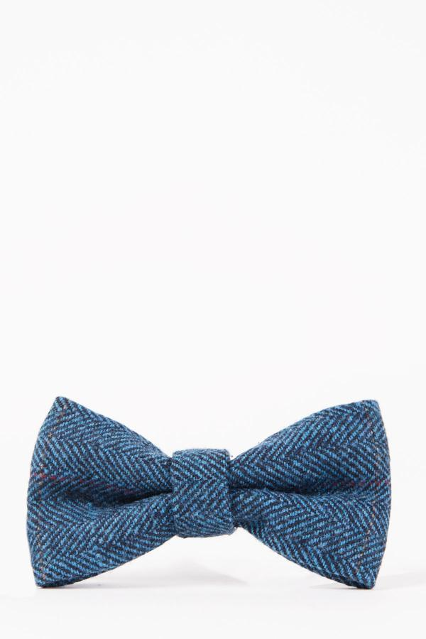 DION - Blue Tweed Check Bow Tie | Marc Darcy - Mens Tweed Suits