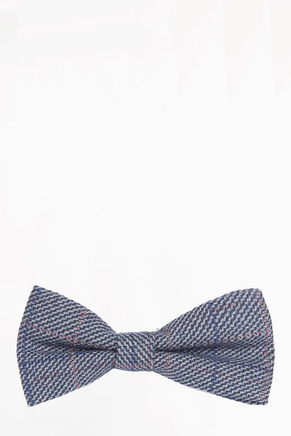 HILTON - Blue Check Tweed Bow Tie | Marc Darcy - Mens Tweed Suits