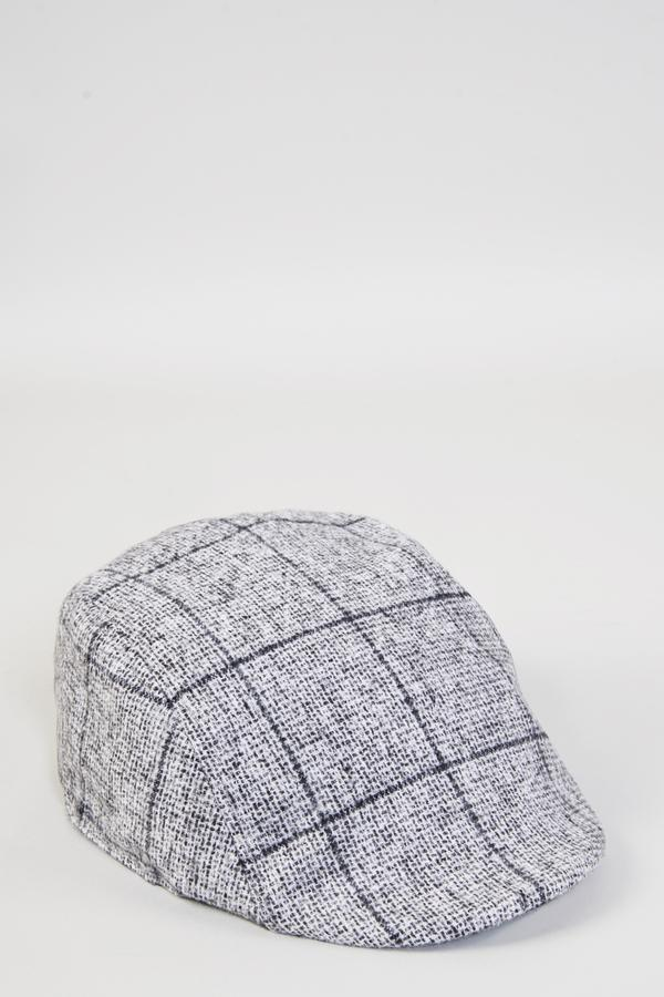 JOSE - Grey Tweed Check Flat Cap | Marc Darcy | Mens Tweed Suits