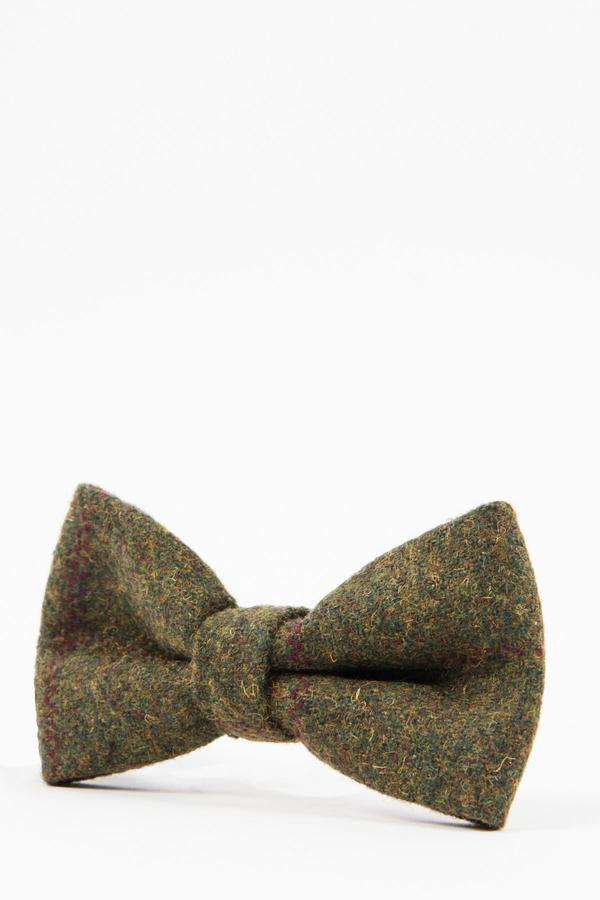 MITCHELL - Tweed Olive Green Wine Check Bow Tie | Marc Darcy - Mens Tweed Suits
