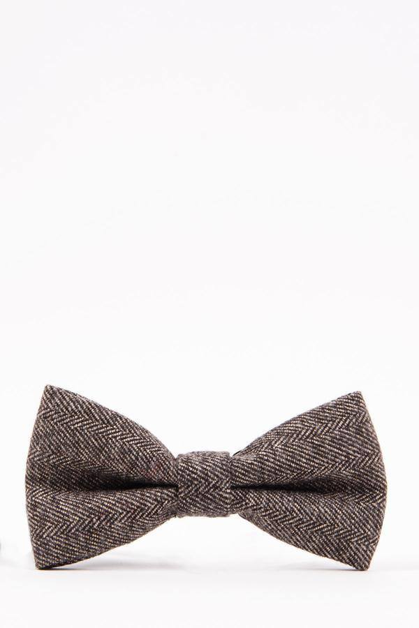 RAYFORD – Tan Herringbone Tweed Bow Tie | Marc Darcy
