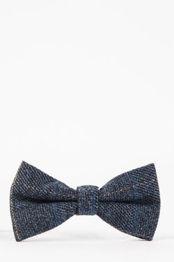 SCOTT - Blue Check Tweed Bow Tie | Marc Darcy - Mens Tweed Suits