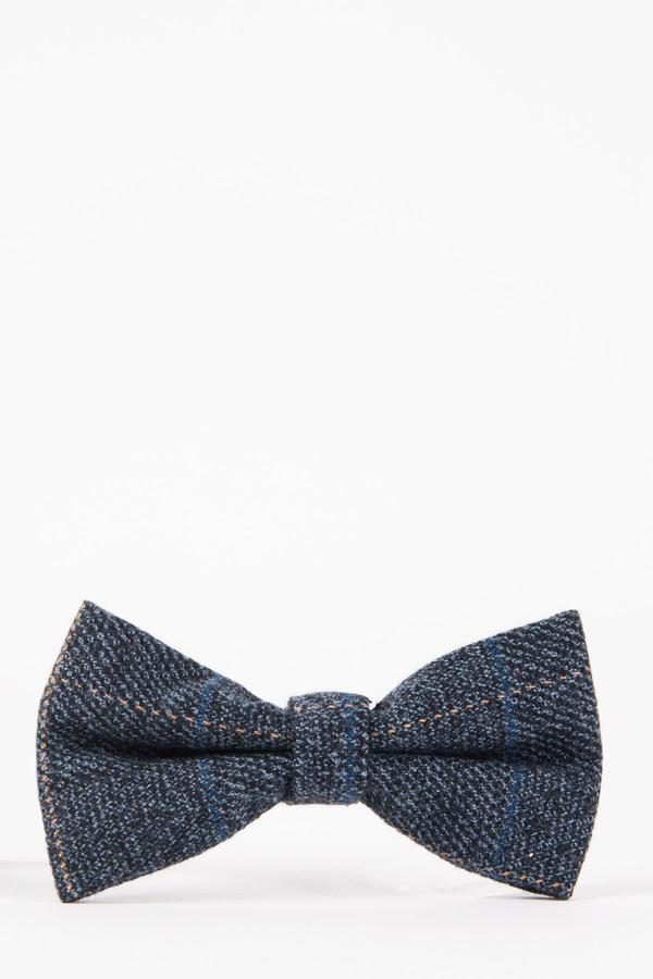 SCOTT - Blue Check Tweed Bow Tie | Marc Darcy
