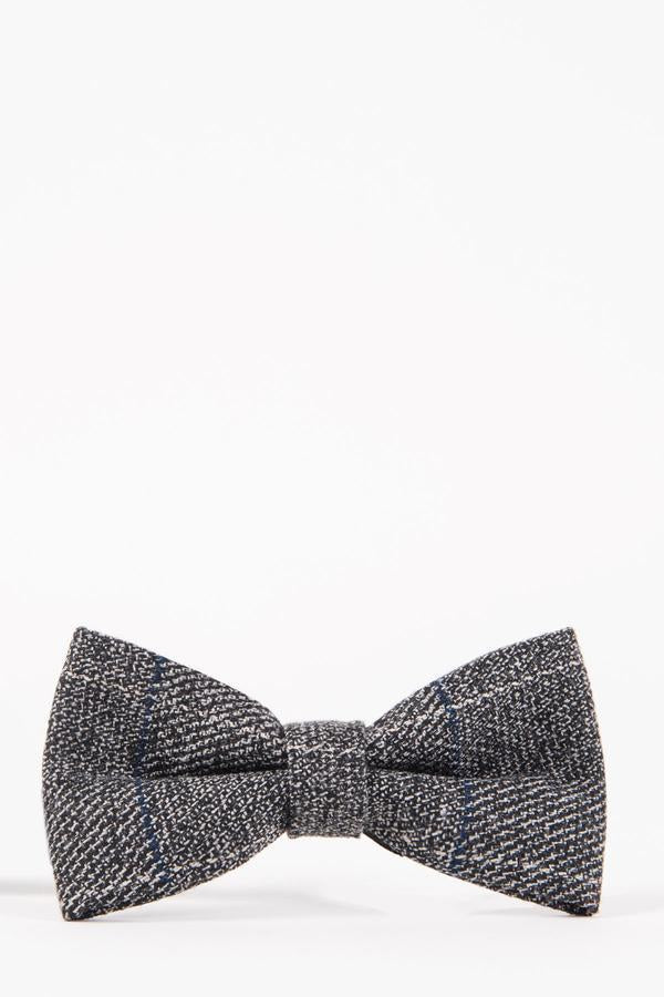 SCOTT - Grey Multi Tonal Check Tweed Bow Tie | Marc Darcy - Mens Tweed Suits