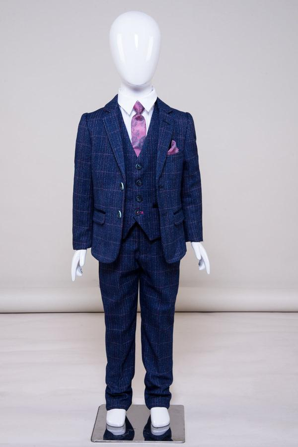 Harry Boys Indigo Tweed Check Suit | Marc Darcy