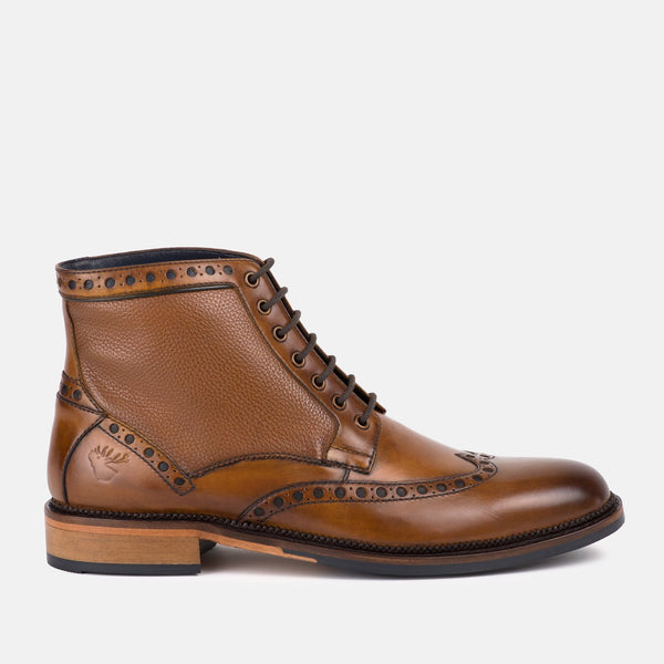 TAN quality smart leather brogue Goodwin Smith boot | Mens tweed Suits