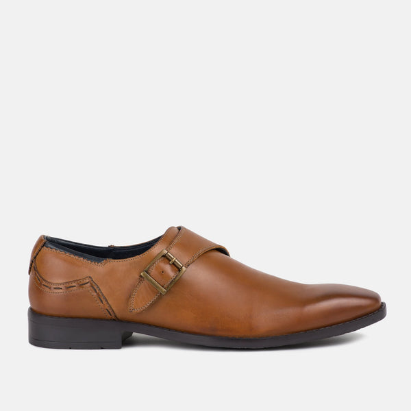 tan quality leather monk strap Goodwin Smith shoe | Mens tweed suits