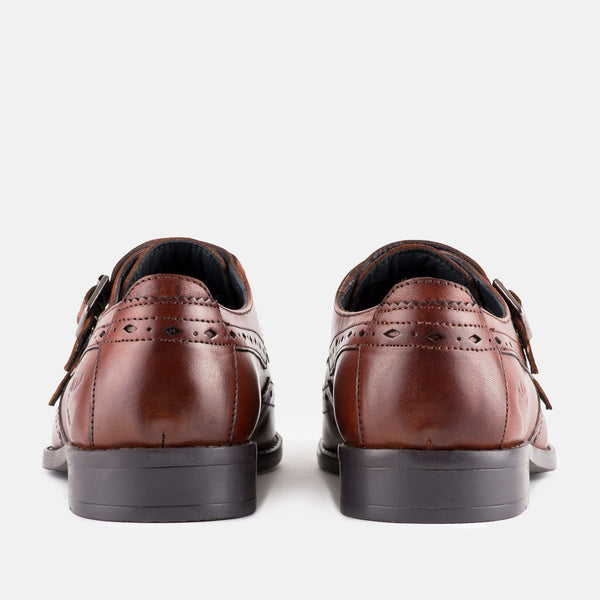 MAHOGANY leather monk strap handmade Goodwin Smith Menstweedsuits