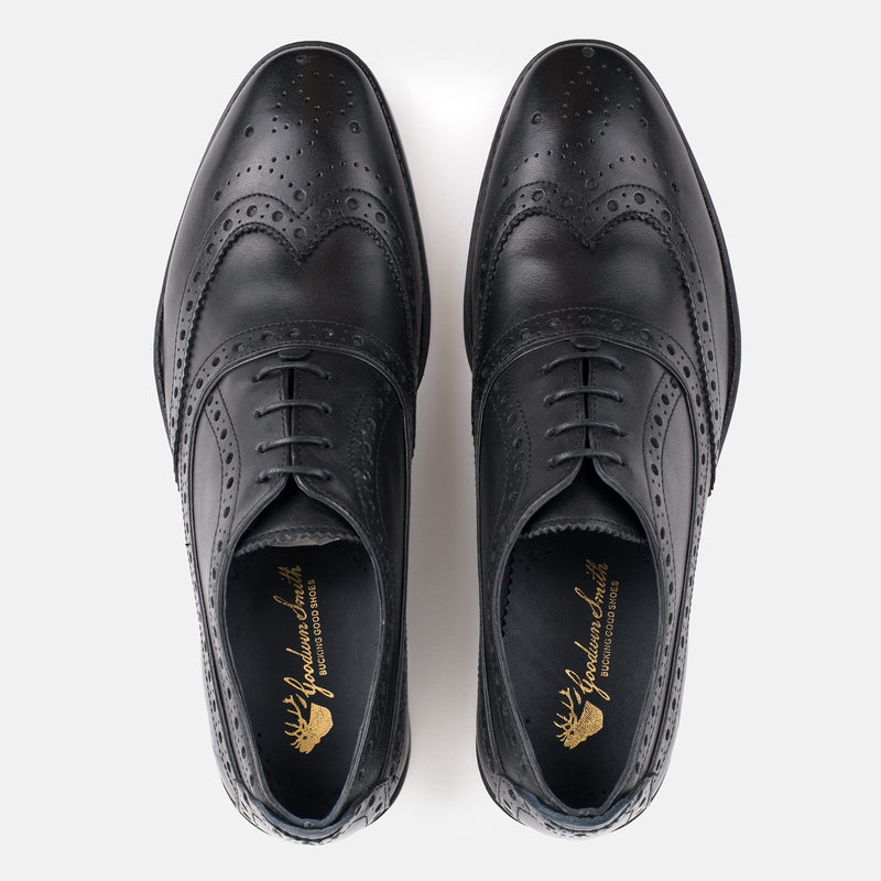 BLACK Men's Leather Oxford Brogue Handmade High quality Goodwin Smith