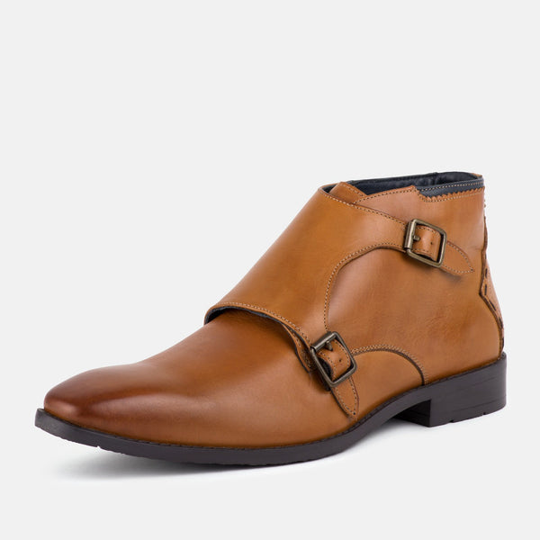 AIRTON TAN MONK STRAP BOOTS - Mens Tweed Suits