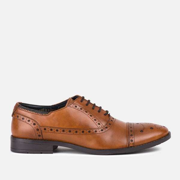 TAN Handmade Italian leather oxford Goodwin Smith shoe | Menstweedsuit