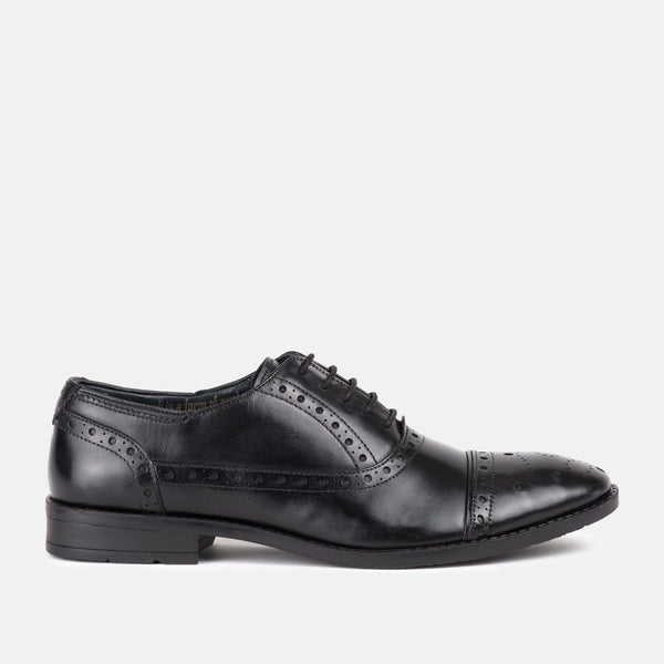 BLACK Handmade Italian leather oxford Goodwin Smith shoe | Menstweedsuits.com