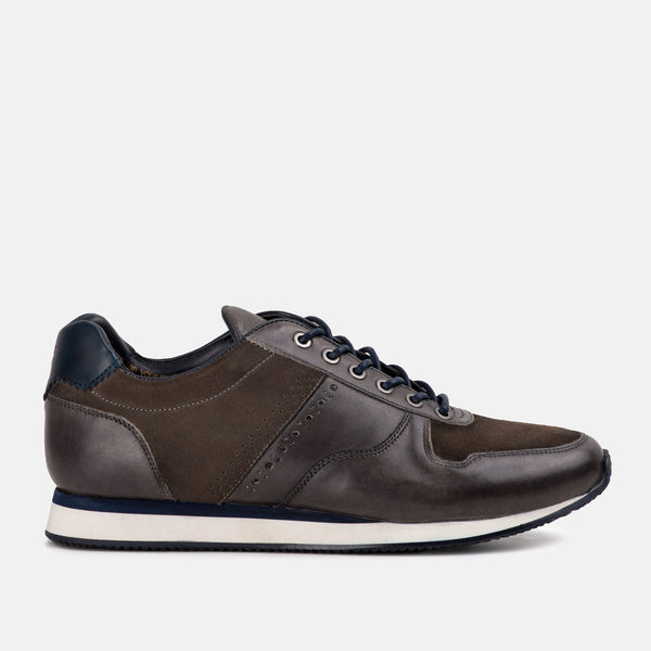 GREY Handmade Casual leather Goodwin Smith trainers | Mens tweed suits