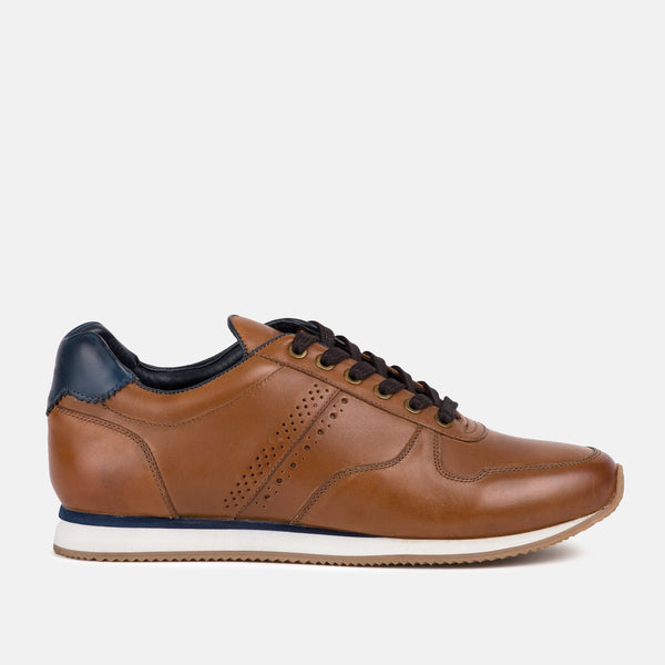 TAN Handmade Casual leather Goodwin Smith trainers | Mens tweed suits