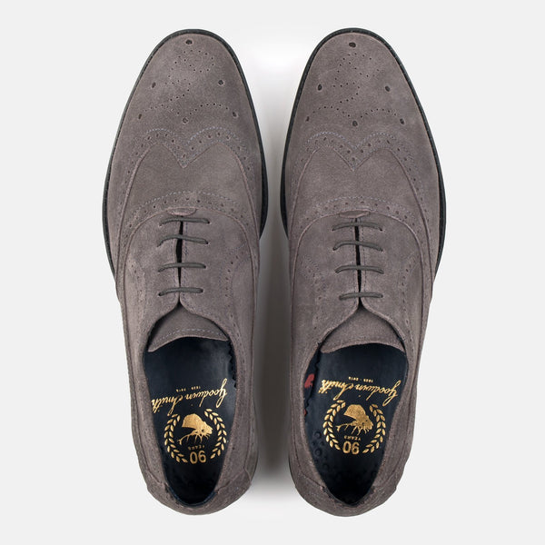 BARCLAY GREY SUEDE DERBY SHOE - Mens Tweed Suits