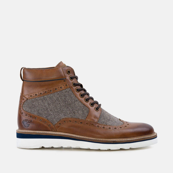 LINWOOD TAN LEATHER WEDGE BOOT - Mens Tweed Suits