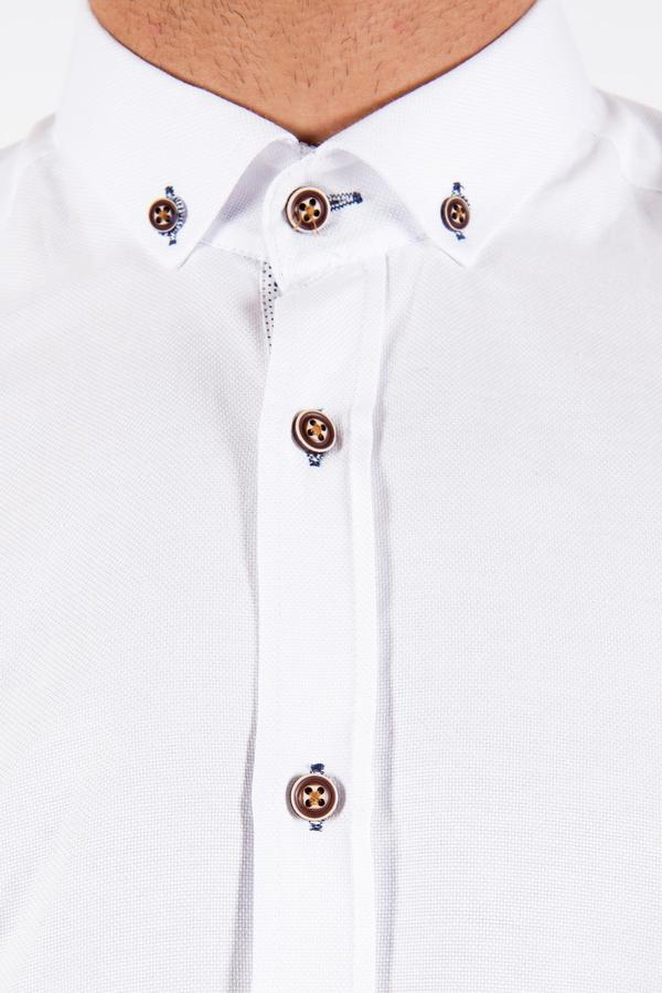 CHARLIE - White Button Down Collar Shirt With Tan Buttons | Marc Darcy - Mens Tweed Suits