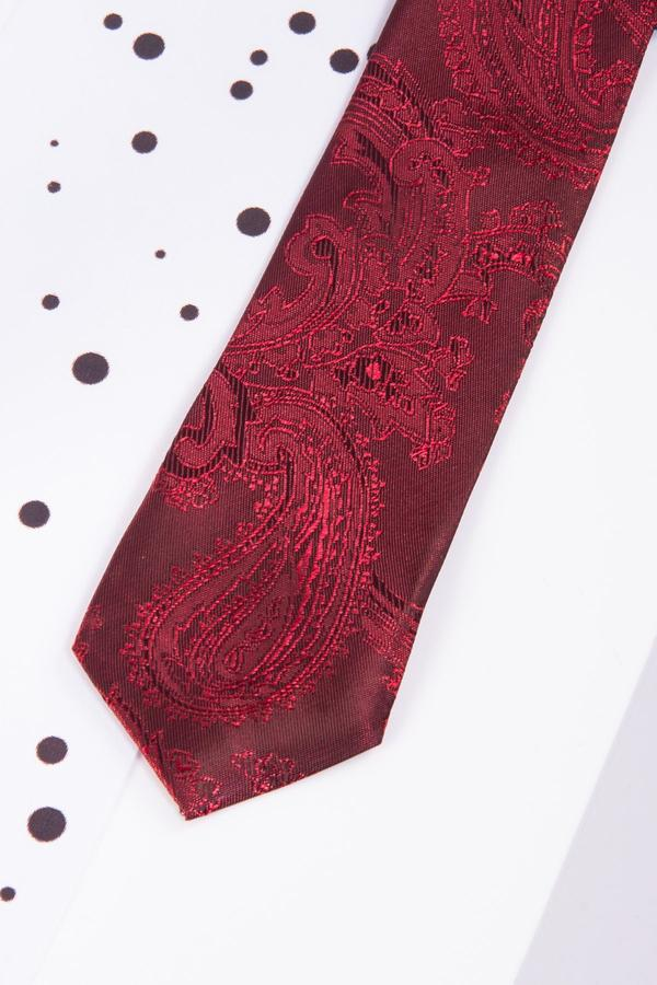 Childrens Wine Paisley Print Tie - Mens Tweed Suits
