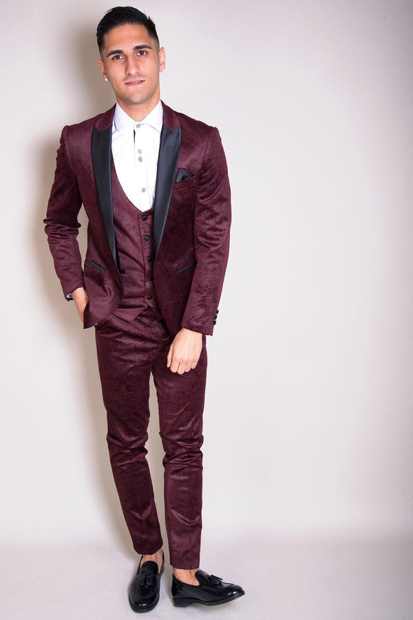 Simon Jacquard Wine Velvet Three Piece Suit - Mens Tweed Suits