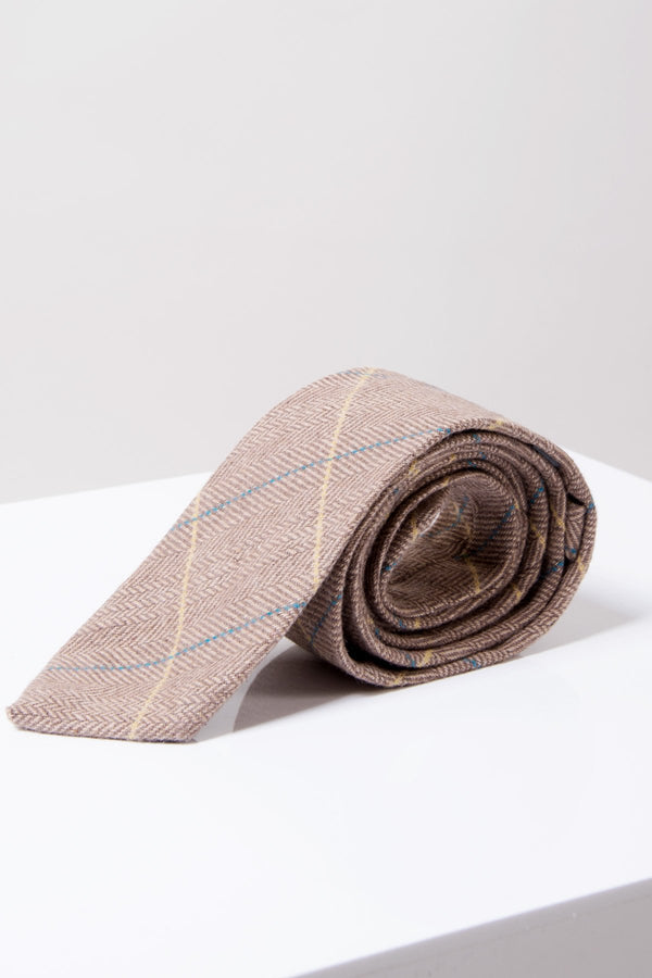 DX7 Oak Tweed Check Tie - Mens Tweed Suits