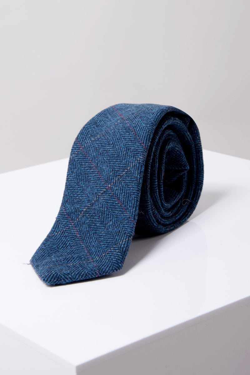 Dion Blue Wedding Tie - Mens Tweed Suits