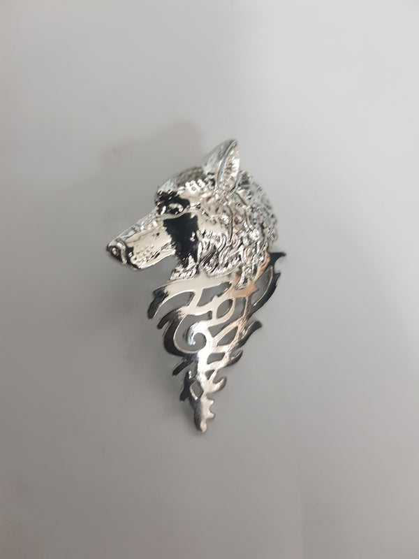 WOLF SILVER LAPEL PIN - Mens Tweed Suits