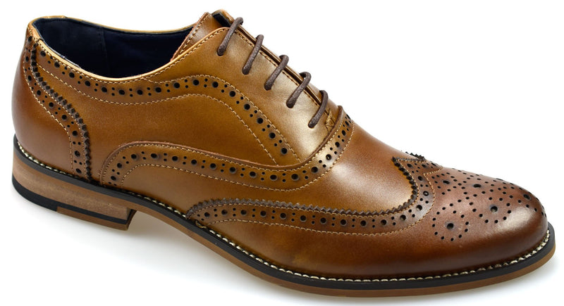 Tan Lace Up Brogues - Mens Tweed Suits
