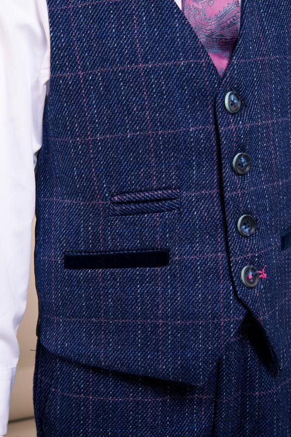 Harry Boys Indigo Tweed Check Suit | Marc Darcy - Mens Tweed Suits