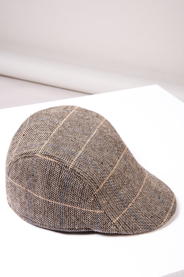 DX7 Tan Tweed Check Flat Cap - Mens Tweed Suits
