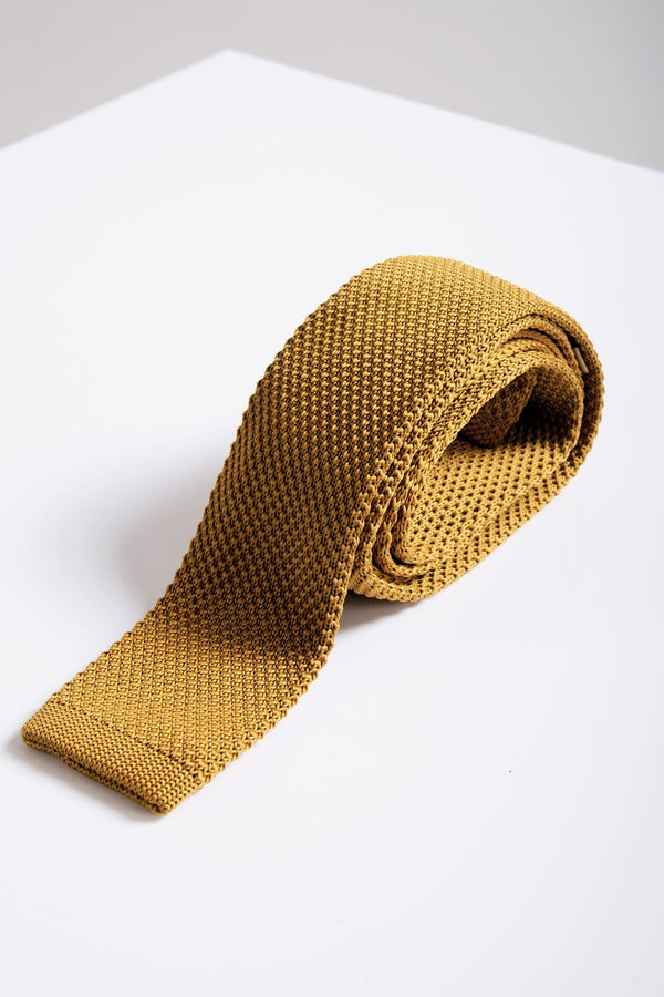 KT Mustard Knitted Tie - Mens Tweed Suits