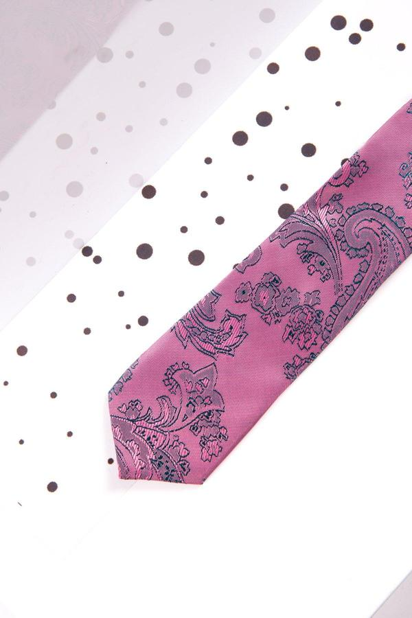 Childrens Pink Paisley Print Tie - Mens Tweed Suits